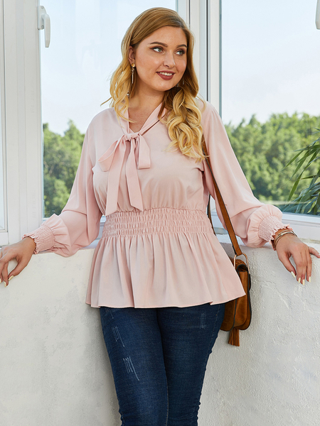 Yoins Plus Size Bowknot V-neck Long Sleeves Blouse