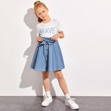 Girls Letter Graphic Tee and Paperbag Waist Button Front Skirt Set