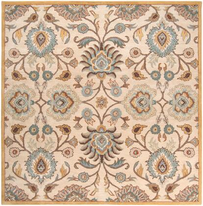 Caesar CAE-1012 8' Square Traditional Rug in Medium Grey  Beige  Camel  Dark Brown  Taupe