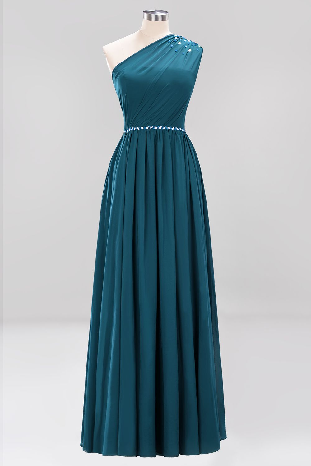 BMbridal Modest One-shoulder Royal Blue Affordable Bridesmaid Dress with Beadings