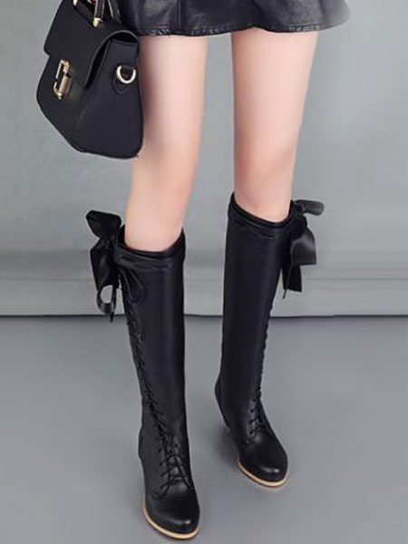 Milanoo Classic Lolita Boots Bow Lace Up Two Tone PU Puppy Heel Lolita Shoes