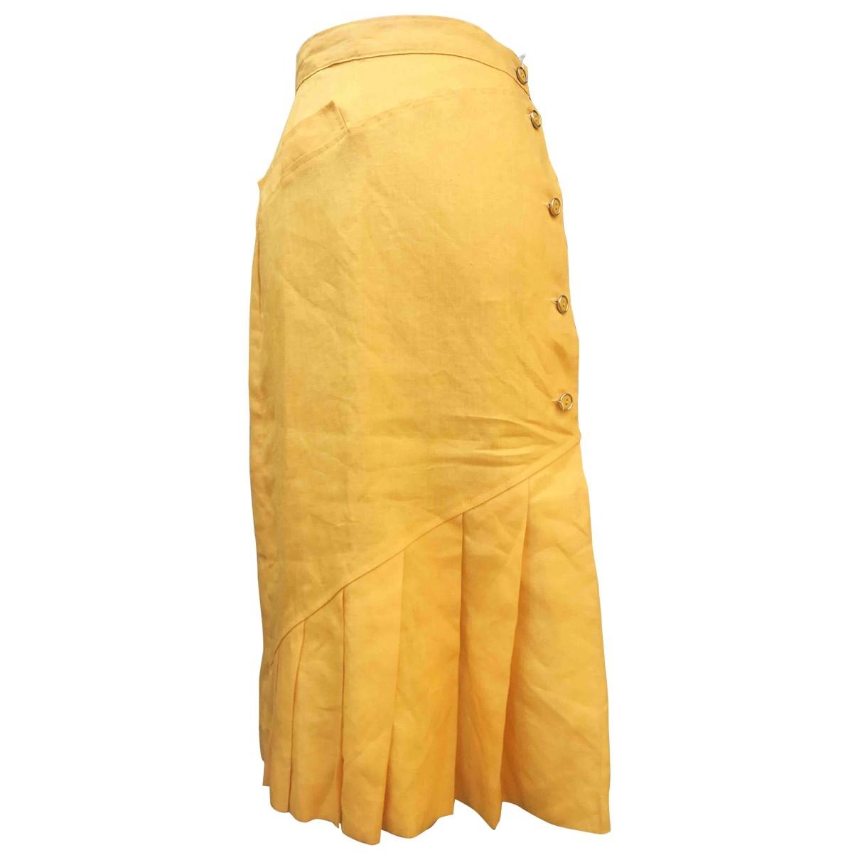 - Jupe   pour femme en lin - jaune