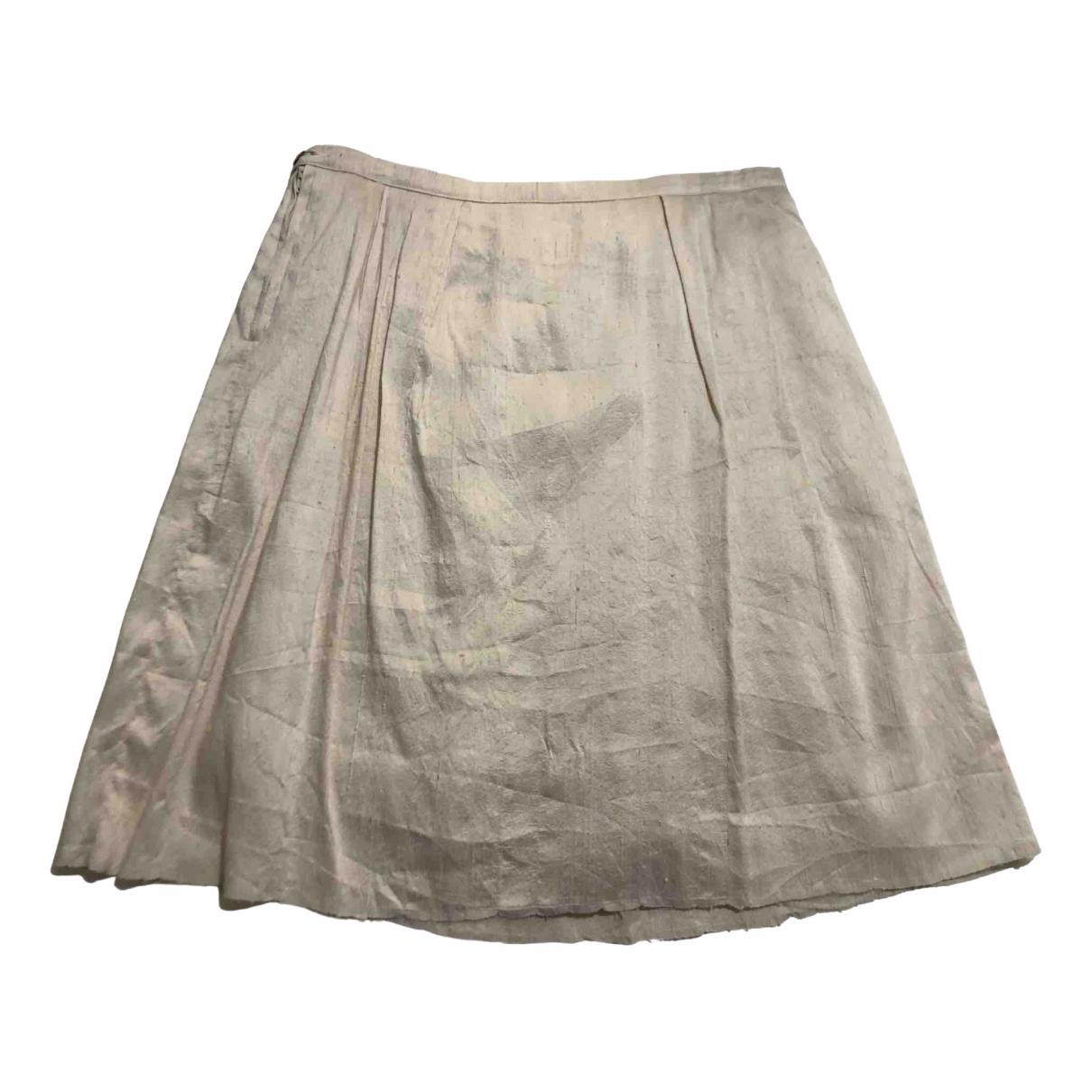 - Jupe   pour femme en soie - blanc