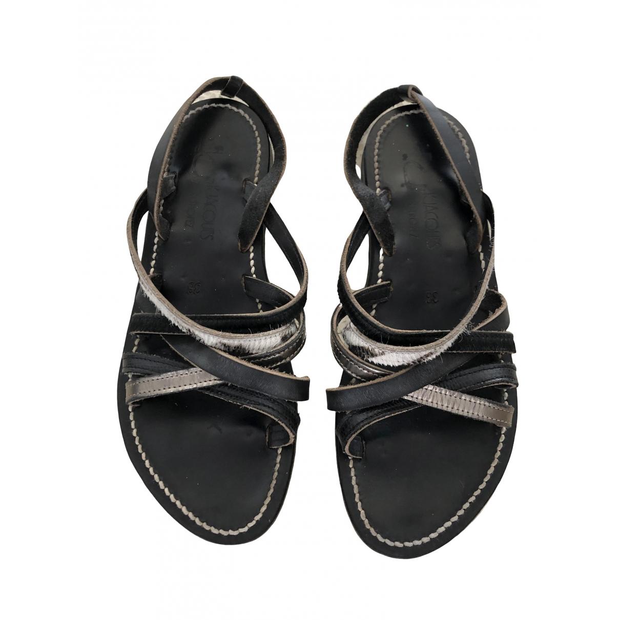 K Jacques \N Black Leather Sandals for Women 38 EU