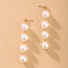 Faux Pearl Beaded Drop Earrings