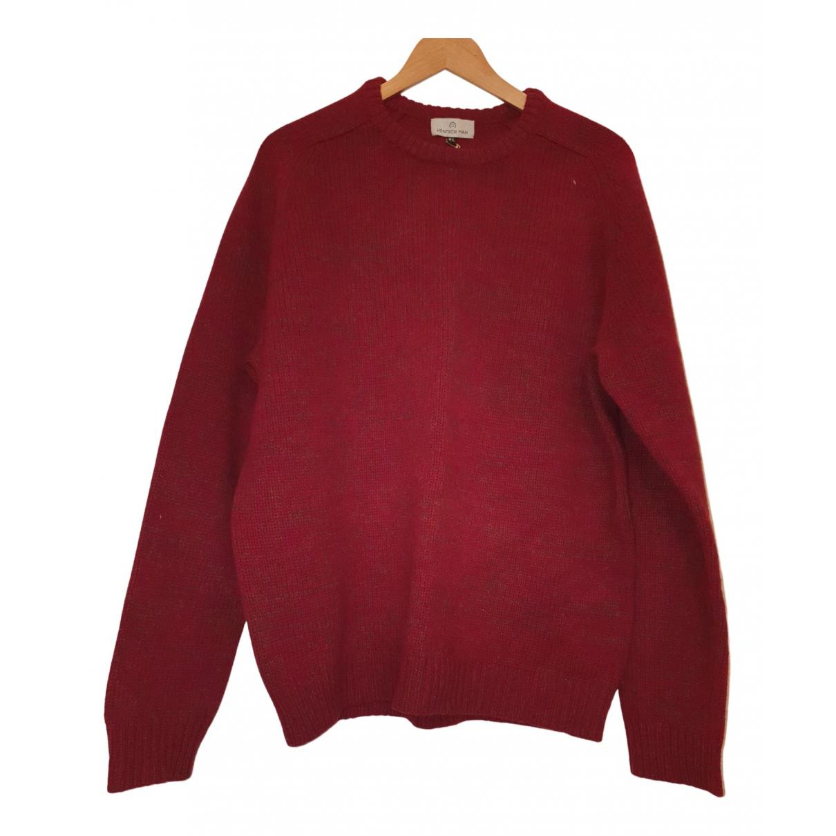 Hentsch Man \N Pullover.Westen.Sweatshirts  in  Bordeauxrot Wolle
