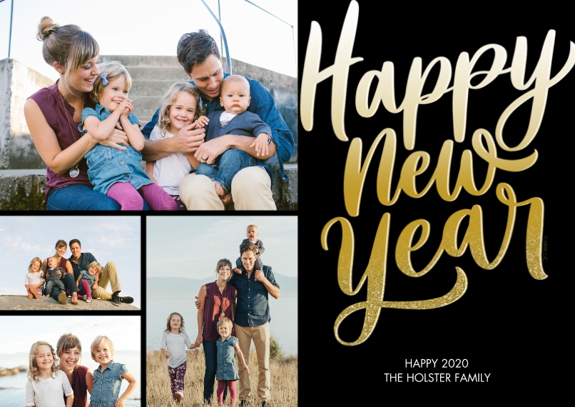 New Years Photo Cards Flat Matte Photo Paper Cards with Envelopes, 5x7, Card & Stationery -Golden Happy New Year by Hallmark
