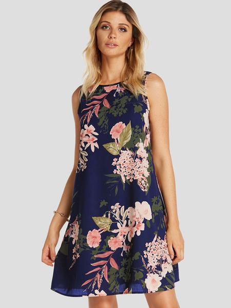 Yoins Navy Random Floral Print Round Neck Sleeveless Dress