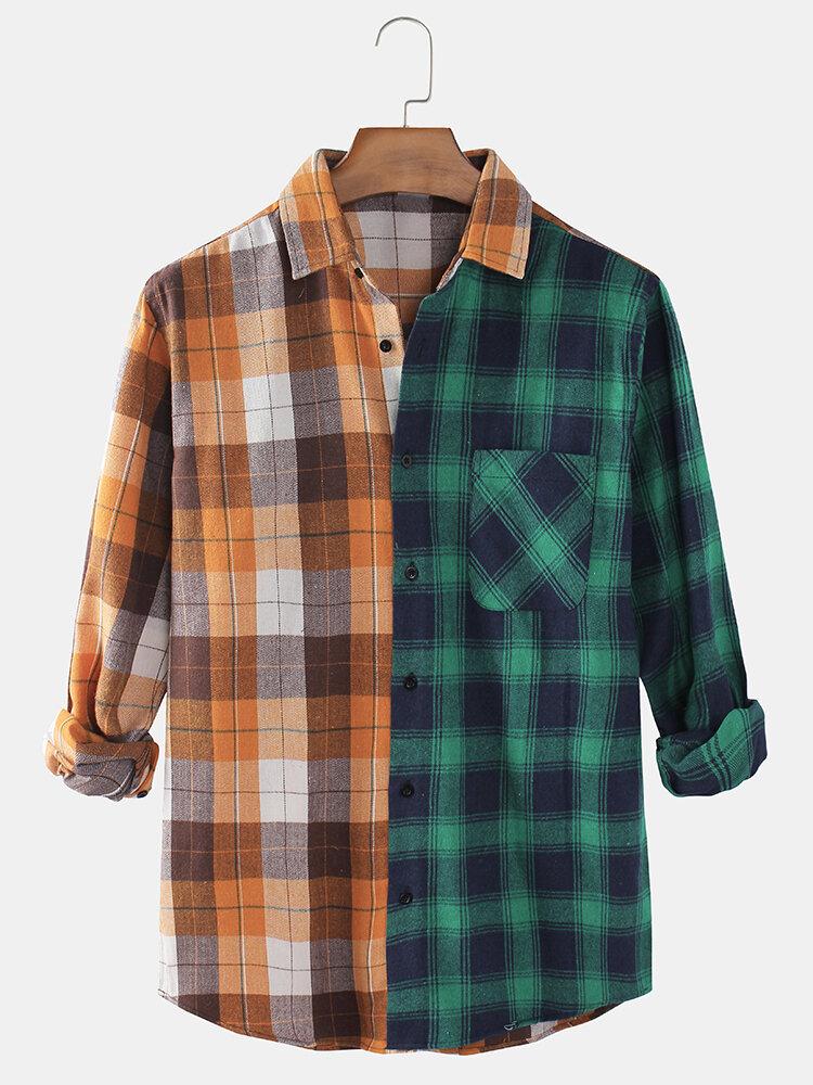 Mens Cotton Plaid & Patchwork Casual Long Sleeve Tartan Check Shirts