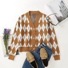 Argyle Pattern Button Front Cardigan