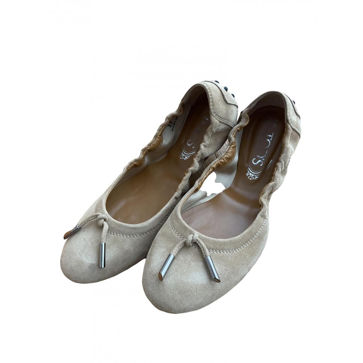 Tod's - Ballerines   pour femme en suede - beige