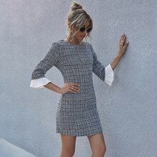 Flounce Sleeve Tweed Fitted Dress