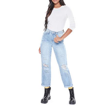 Ymi - Juniors Womens High Rise Straight Leg Jean, 5 , Blue