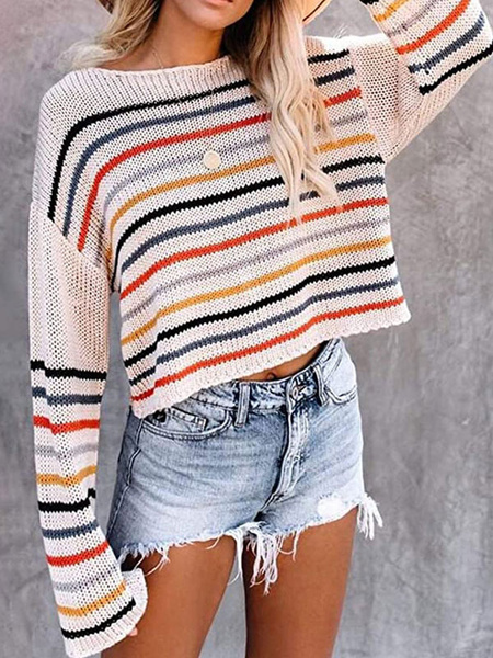 Milanoo Pullovers For Women Light Apricot Stripes Bateau Neck Long Sleeves Sweaters