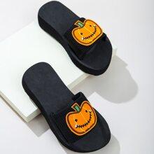 Maedchen Hausschuhe mit Halloween Kuerbis Muster