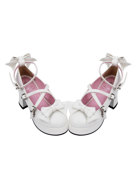 Milanoo Sweet Lolita Shoes Bow Strappy Round Toe Platform White Lolita Heels