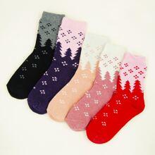 5 pares calcetines con patron de arbol navidad