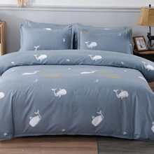 Bettwaesche Set mit Wal Muster ohne Fuellstoff