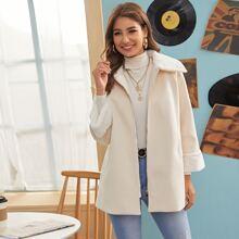Zip Up Contrast Faux Fur Pocket Side Coat