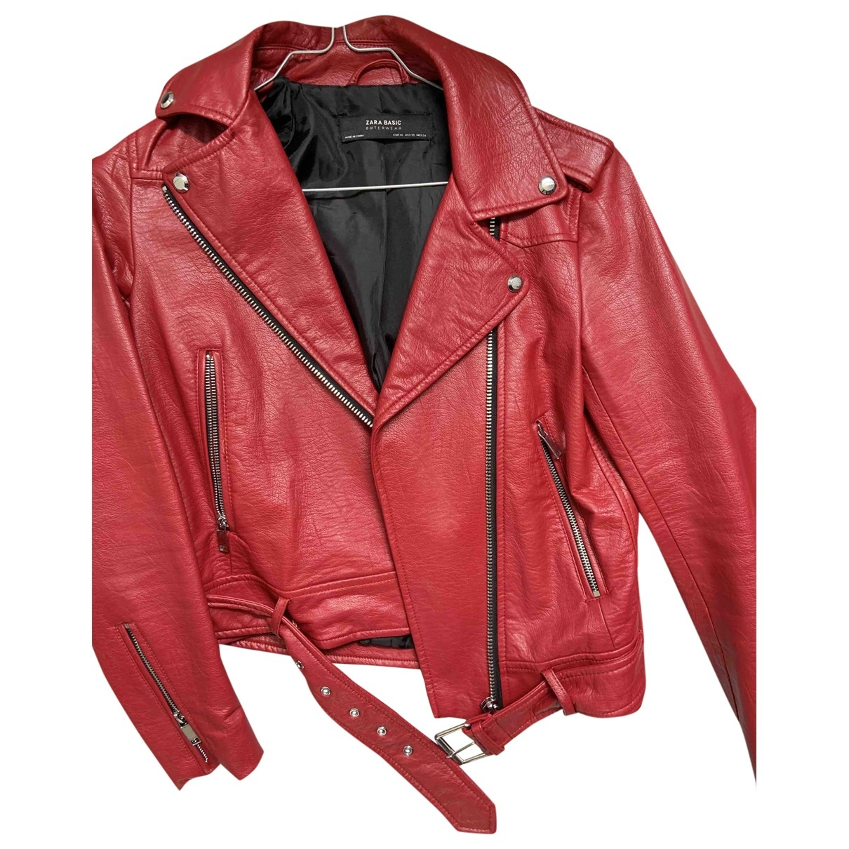Zara \N Lederjacke in  Rot Leder