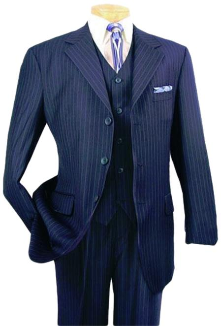 Vested Pinstripe 1 Wool Suit Pleated Pants 3Buttons Vested Notch Lapel