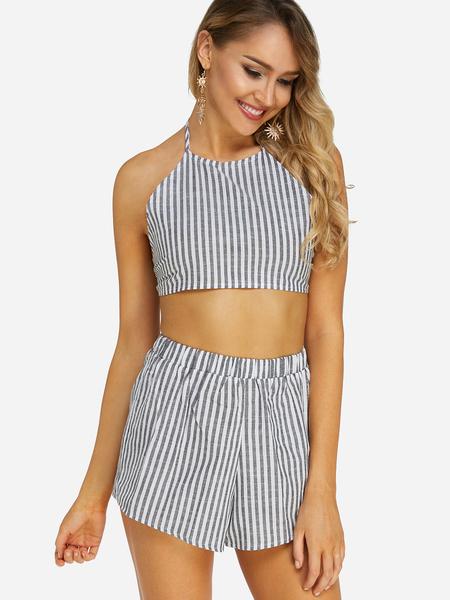 Yoins Black Self-tie Design Stripe Sleeveless Two Piece Outfits
