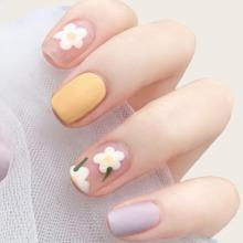 24 Stuecke Kuenstliche Naegel mit Blumen Muster & 1 Blatt Klebeband