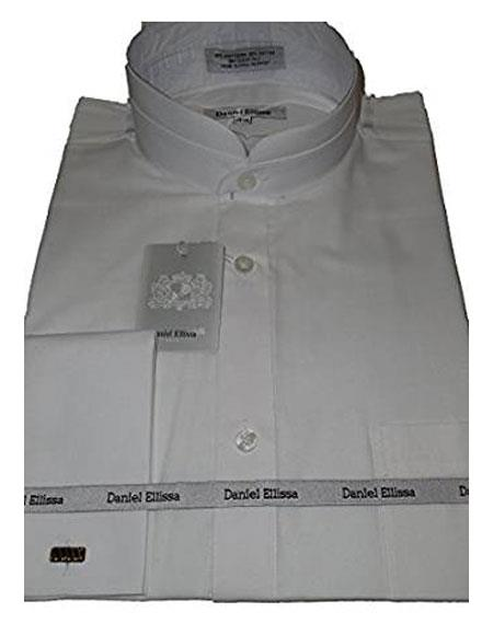 Daniel Ellissa Mens Collarless French Cuff White Shirt