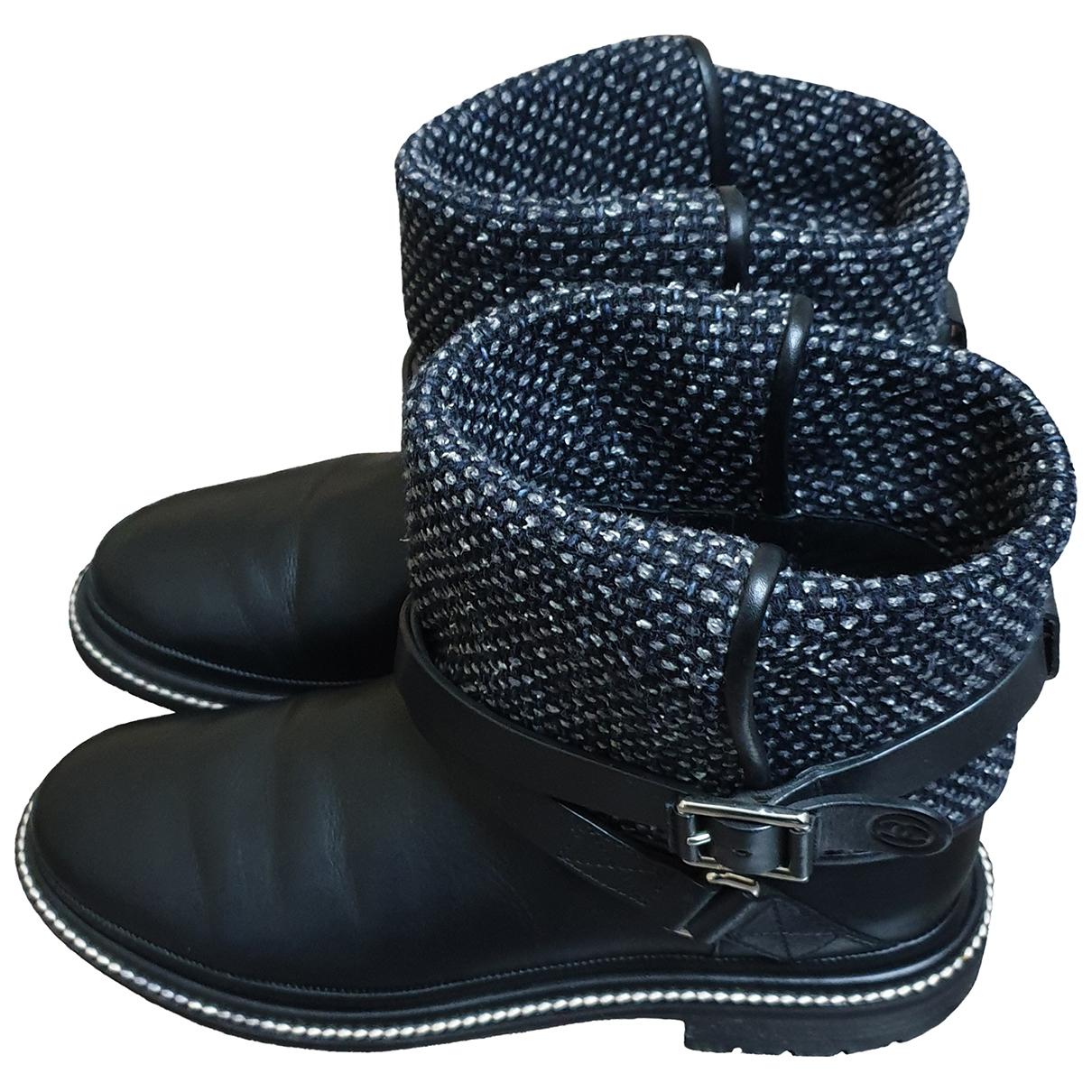 Chanel - Bottes   pour femme en cuir - noir