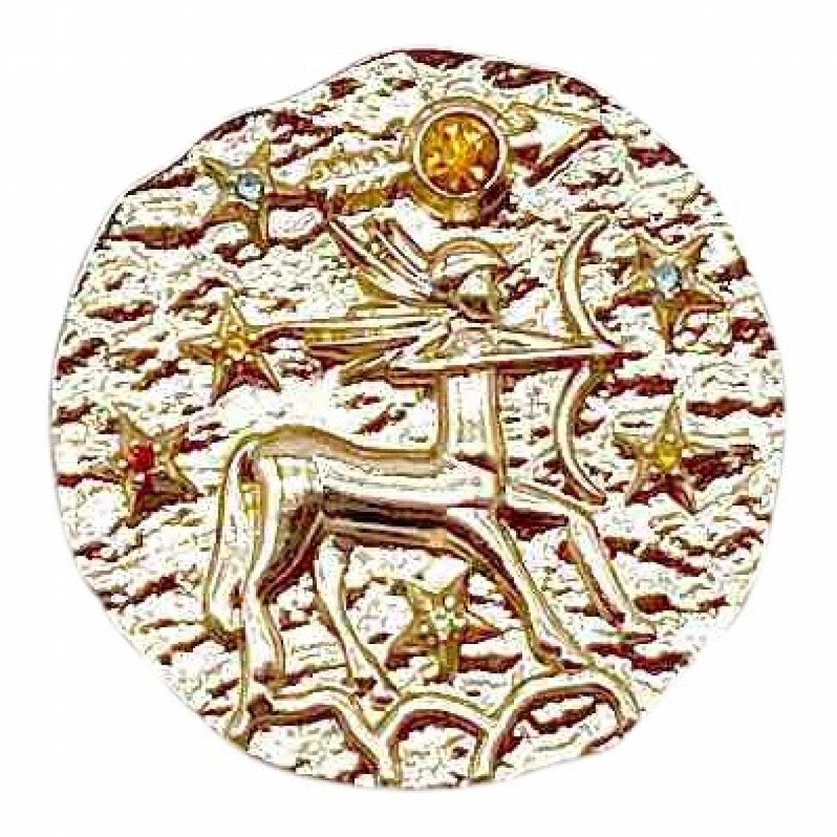 Broche Medailles en Metal Dorado Non Signe / Unsigned