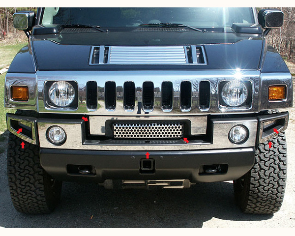 Quality Automotive Accessories 7-Piece Front Bumper Cover with Z Grill Hummer H2 2008