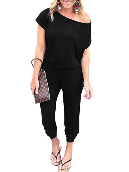 Yoins Black Button Keyhole Design Short Sleeves Jumpsuit