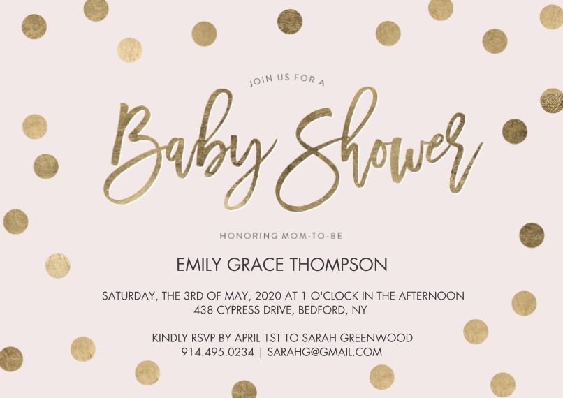Baby Shower Invitations 5x7 Cards, Premium Cardstock 120lb with Rounded Corners, Card & Stationery -Baby Shower Gold Dots by Tumbalina