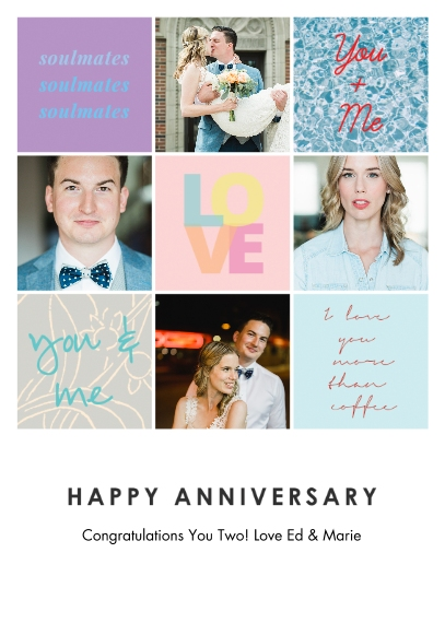 Anniversary 5x7 Folded Cards, Premium Cardstock 120lb, Card & Stationery -Lets Celebrate Love