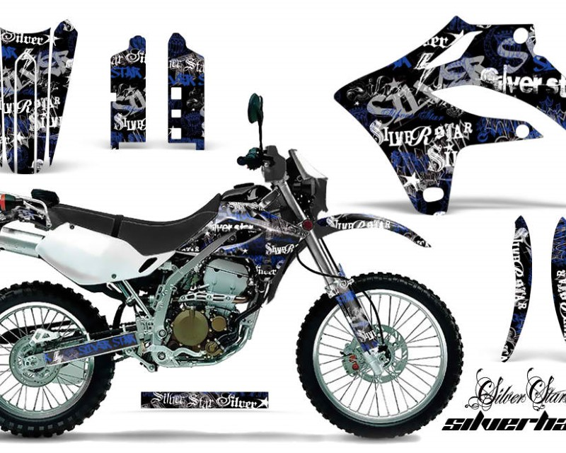 AMR Racing Dirt Bike Graphics Kit MX Decal Wrap For Kawasaki KLX250S 2004-2007áSSSH BLUE BLACK