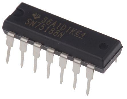 Texas Instruments SN75188N, 4 (RS-232)-TX EIA/TIA-232, ITU-V.28, RS-232 Line Transmitter, 14-Pin PDIP