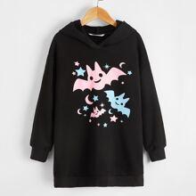 Sweatshirt mit Halloween Muster und sehr tief angesetzter Schulterpartie
