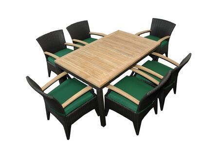 Bellagio SR-016TB 7-Pieces Patio Dining Table Set with Bellagio Rectangular Dining Table and 6 Bellagio