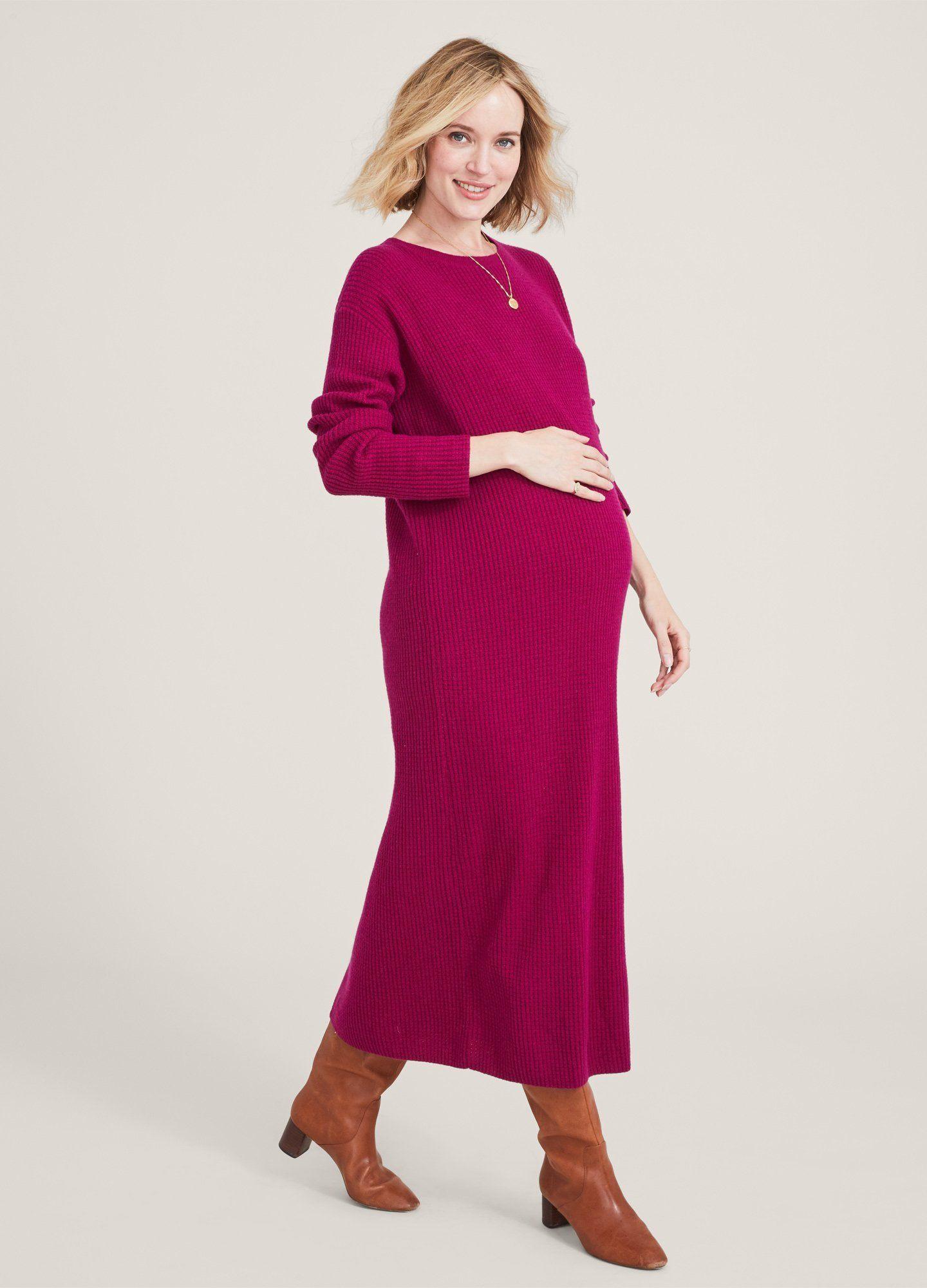 HATCH Maternity The Cozy Waffle Dress, magenta, Size 0