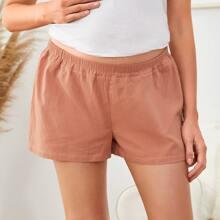 Maternity Einfarbige Shorts mit elastischer Taille