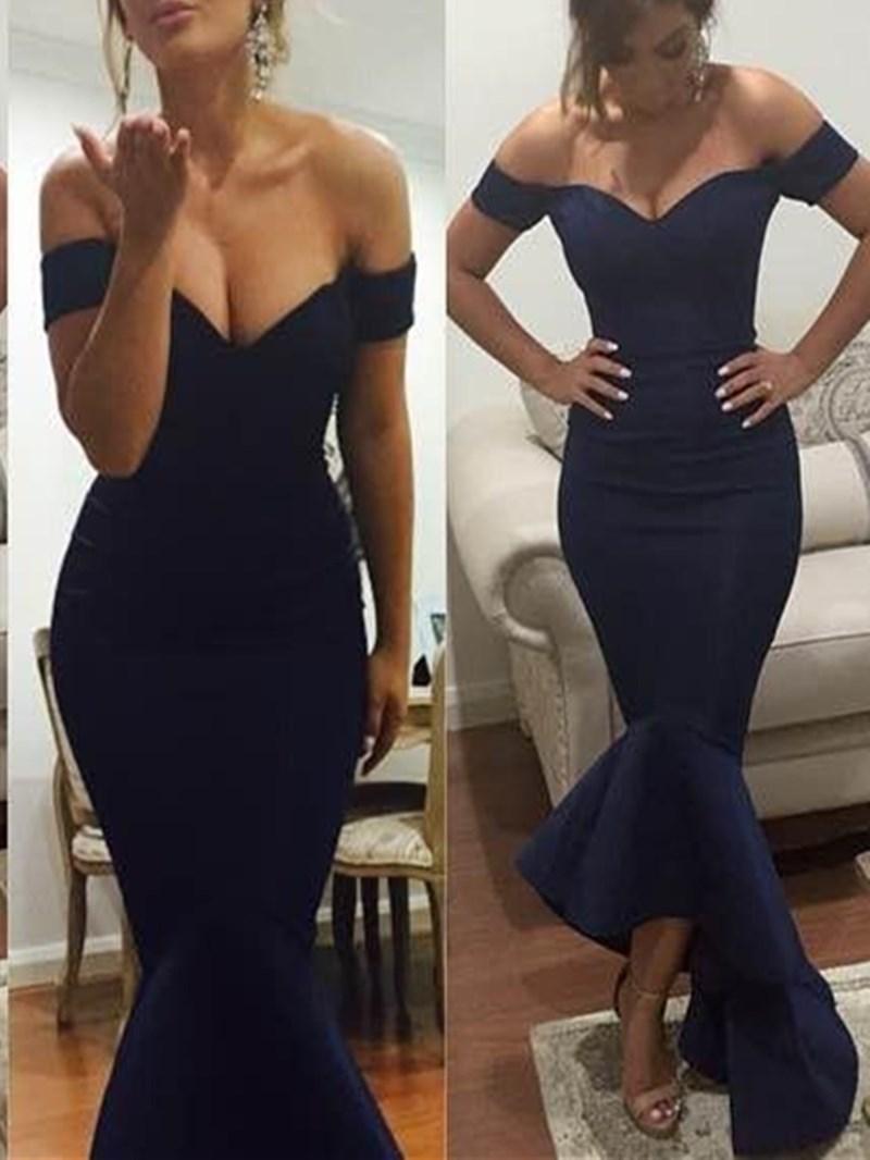 Ericdress Off-The-Shoulder Ruffles Asymmetry Mermaid Evening Dress