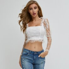 Knot Shoulder Sheer Embroidery Mesh Ruched Top