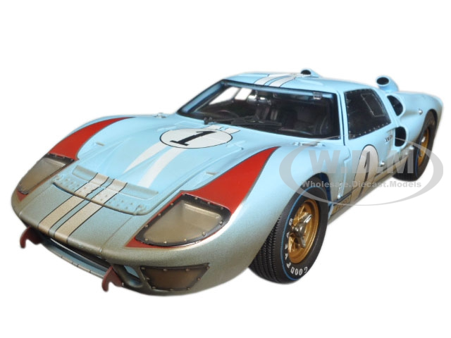 1966 Ford GT-40 MK II 1 Light Blue Miles - Hulme Le Mans (Dirty Version) 1/18 Diecast Model Car by Shelby Collectibles