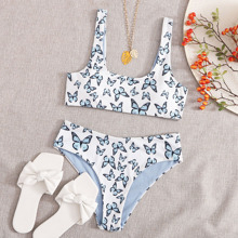 Butterfly Print Rib Bikini Swimsuit