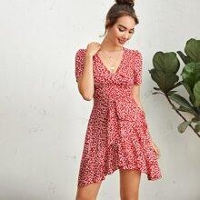 Kleid mit V Kragen, Wickel Design, Guertel, Raffungsaum und Bluemchen Muster