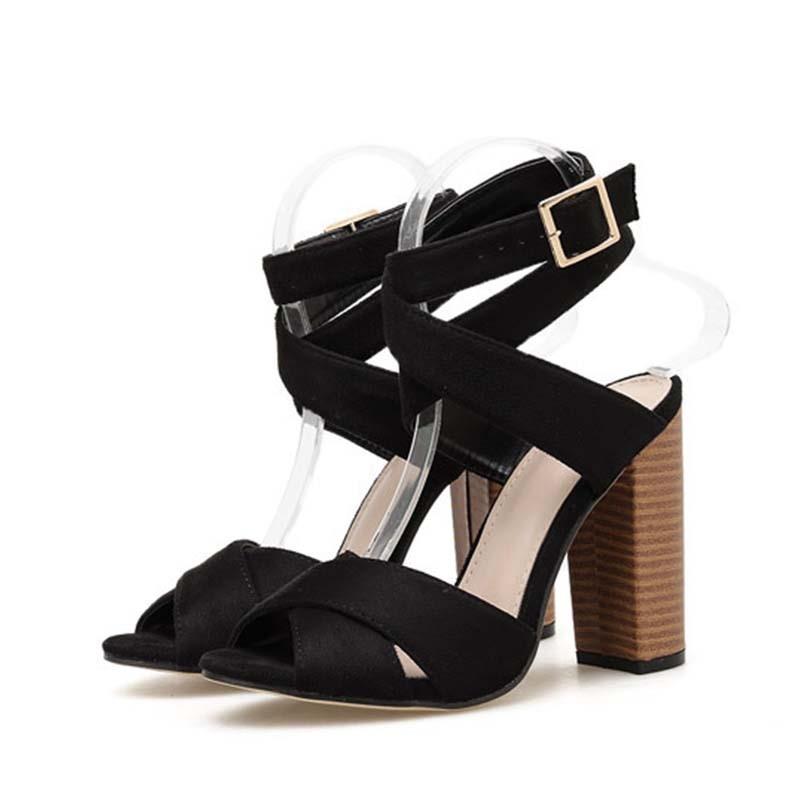 Ericdress Buckle Chunky Heel Peep Toe Thread Sandals