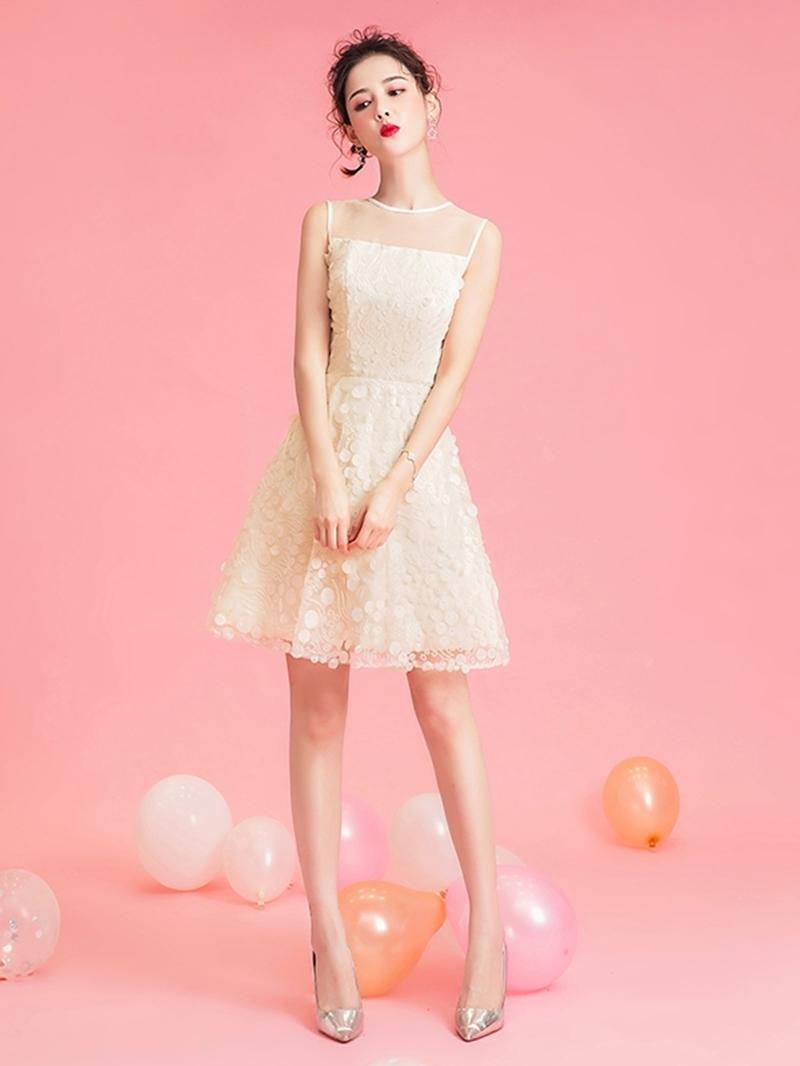 Ericdress Tea-Length Sleeveless A-Line Lace Homecoming Dress