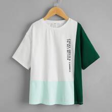 T-Shirt mit Buchstaben Grafik und Farbblock