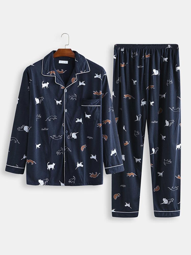 Men Cute Cat Print Pajamas Cotton Comfortable Button Down Home Sleepwear