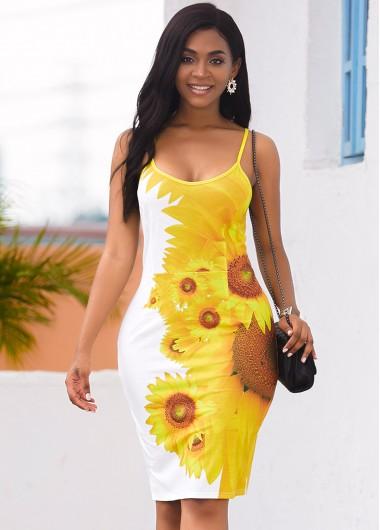 Wedding Guest Dress Back Slit Sunflower Print Spaghetti Strap Dress - M